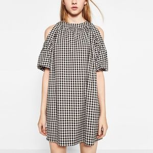 Zara Gingham Check Cold Shoulder Dress Sz XS